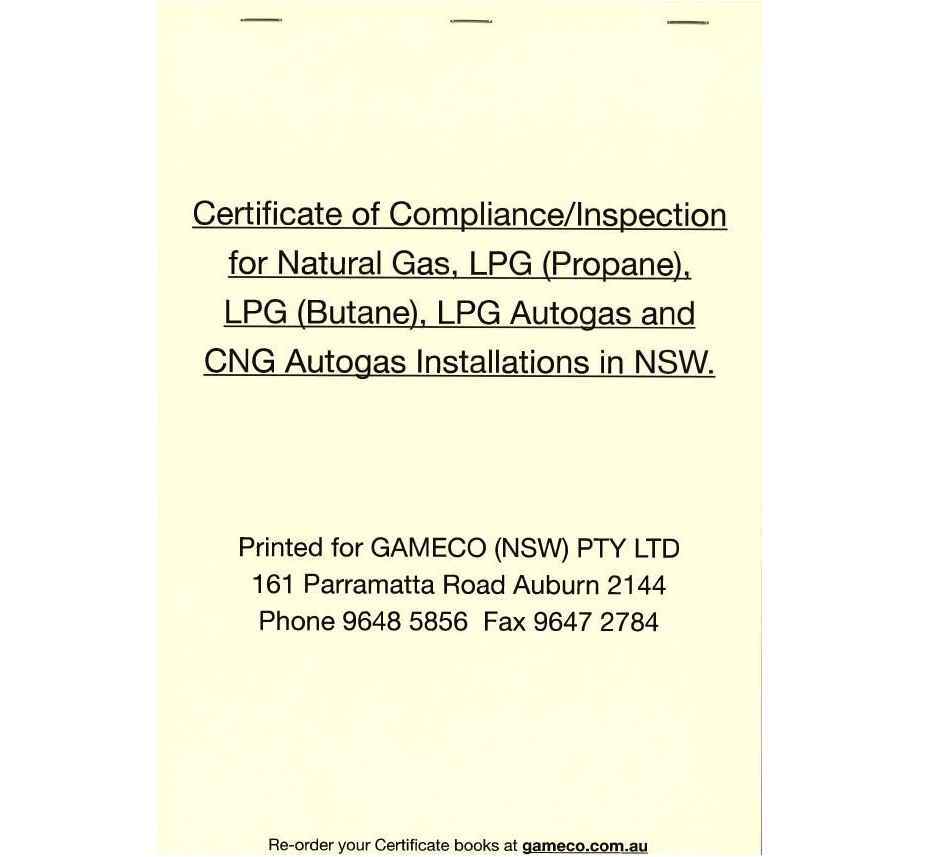 Compliance Certificate Book Lpg Natural Gas Lpg Autogas