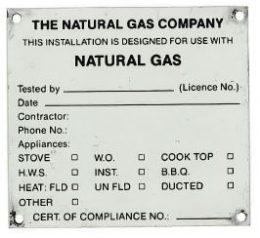 cp-3 COMPLIANCE PLATE NATURAL GAS