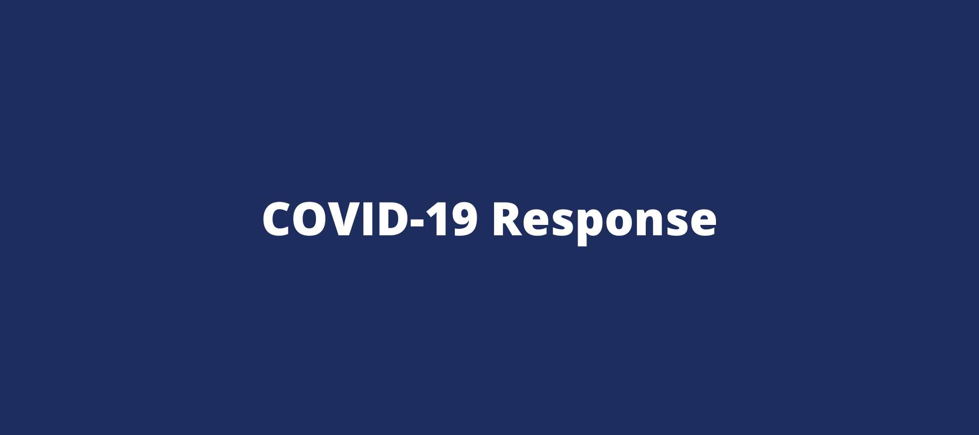 Navy and white COVID-19 response banner